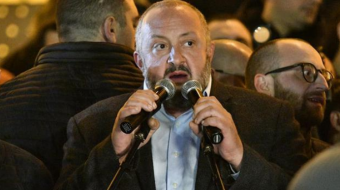 Georgia's ex-President Margvelashvili joined protesters outside Parliament