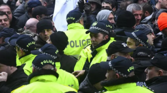 12 people, including opposition leader, detained at rally outside Parliament