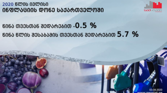 Georgia experienced a 11.5% increase in food and a 9.3% rise in transport prices in one year- Sakstat
